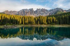Lago di Carezza (marypink) Tags: lagodicarezza dolomiti lake trees reflections trentinoaltoadige sky water karersee latemar nikond800 nikkor1635mmf40