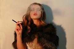 Film Noir 3 Colour (daniellagracemc) Tags: filmnoir film noir smoke smoking 1940 1940s gilr lady femmefatale redlips redlipstick fur furcoat shadows