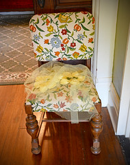 She Was NOT a Wallflower! (BKHagar *Kim*) Tags: bkhagar chair floral wood floor vintage antique sale estatesale athens al alabama