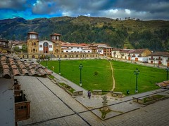 The view from our hotel of the main square in Chacas with the church.