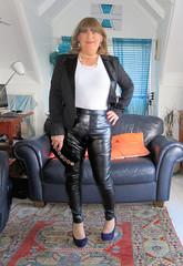 Purse (Trixy Deans) Tags: crossdresser cd cute crossdressing leather trousers tightjeans jacket jeans xdresser sexy sexytransvestite sexyheels sexylegs tgirl tv transvestite tranny shemale shemales