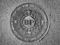 Well (swedeshutter) Tags: well british petroleum bp black white pattern concrete