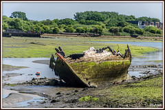 A wreck (FryFotos) Tags: ship wreck creek sea sky green lowtide mud trees nautical nikon
