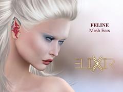 ..ELIXIR.. Feline Ears V1.01 [Basic Ears] (julieabd) Tags: ears blood tattoo facial mesh head slink applier adam catwa logo gaeg akeruka omega genesis lab lag
