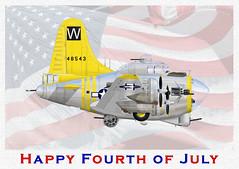B-17 Fourth of July Print (blackheartart) Tags: boeing b17 art caricature aviation airplane aircraft bomber flyingfortress
