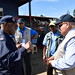 Sir Anand (right) is briefed on security for polling in Jiwaka province
