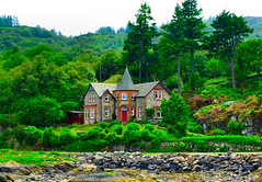 Scotland West Highlands Argyll a lovely house at Tarbert 21 June 2017 by Anne MacKay (Anne MacKay images of interest & wonder) Tags: scotland west highlands argyll lovely house tarbert beach trees landscape xs1 21 june 2017 picture by anne mackay
