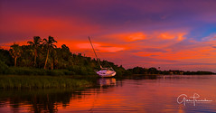 Florida Life: Tequila Sunset (Thūncher Photography) Tags: sony a7r2 sonya7r2 ilce7rm2 zeissfe1635mmf4zaoss fx fullframe scenic landscape waterscape nature outdoors sky clouds colors reflections sunset sailboat tropical palmtrees sarasota sarasotabay florida southwestflorida