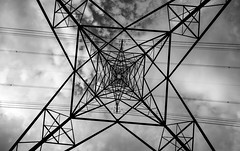 2017_182 (Chilanga Cement) Tags: nikon nikondf niks 14mm superwide power electricity pylon powerlines generation wire wires geometric steel cloud clouds bw blackandwhite nature nonature sky skywards infinity