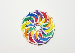 Ring of Rings (Wensdy Whitehead) (joigami) Tags: kaleidoscope color multicolor rainbow rings ring circle sculpture design modular origami