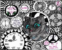 """Clockwork"" | (Jackie \*~*/) Tags: blackandwhite halloween october inktober ink monochromatic insanity mad clocks clockwork time blackandblue chesirecat cheshire timburton aliceinwonderland alicethroughthelookinglass"