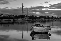 B&W Dinghy (Sterling67) Tags: predawn sunrise outdoor outside 2470 water reflections lakemacquarie wangi boats yachts clouds stormy skies bw black white