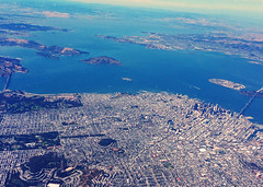 Aerial view of San Francisco Bay Area (Aqua and Coral Imagery) Tags: sf bay bayarea sanfrancisco water aerial blue sky island city landscape nature view above clear skyscrapers ocean