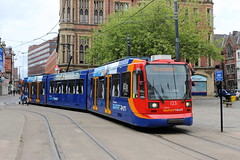 Stagecoach Supertram 123, Cathedral 13/05/17 (TC60054) Tags: sheffield stagecoach supertram 123 siemensduewag siemens duewag tram tramway lrv south yorkshire light rail