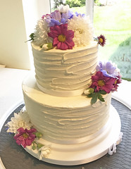Buttercream Berry Flowers Wedding Cake