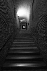 Concrete Staircase (Michael Adedokun) Tags: blackandwhite staircase bricks brickwall metal light stairways shadows shape form view concretestaircase venice ltaly composition