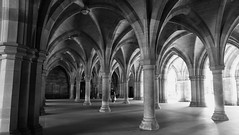 Cloisters 02 (byronv2) Tags: architecture blackandwhite blackwhite bw monochrome history cloisters arch pillar fanvault glasgow glasgowuniversity university westend scotland escher perspective gothic neogothic