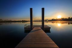 sunrise / Kronthaler Weiher Erding (drummerwinger) Tags: rot erding canon700d tokina sonnaufgang sunrise wasser wolken himmel stille silence brücke steg clouds