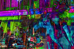 Caos (seguicollar) Tags: edificios imagencreativa photomanipulación art arte artecreativo artedigital virginiaseguí rana escultura estatua arquitectura motos calles stree combinado color bleu pink azul rosa verde green rojo red