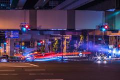 On the way to home (Arbit Bamboo0101) Tags: night omzuiko color asia city junction underpass light lighttrail a72 blue red road beautiful highway digital a7ii dark omzuiko13535 alpha72 nightscape osaka japan green