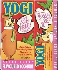 1990 Yogi Mixed Berry Yoghurt Box - New Zealand (NZCollector) Tags: new zealand packaging kiwiana yogi bear hanna barbera