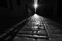 towards the sun (Hendrik Lohmann) Tags: street streetphotography strase strassenfotografie sun sunset croatia rovinj bycicle blackandwhite bwstreet bw nikon hendriklohmann shadow
