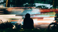 lost in the light ('Barnaby') Tags: grab omd rushhour jkt lostinthelight mopeds traffic jakarta indonesia gojek sittingdown
