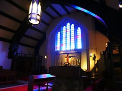 (Human-Faced Bun w/ Honey Pudding) Tags: church stained glass lamp light cross rainbow color colorful jesus shadow beautiful anglican england yamate