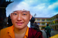Monk (ujjal dey) Tags: ujjal ujjaldey monk fujifilm xe2s coorg madikeri travel monastery goldentemple tibet tibetan smile reflection window india karnataka portrait young