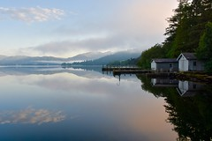 Boathouse (Nige H (Thanks for 20m views)) Tags: lakedistrict dawn mist lake windermere lakewindermere boathouse mountains nature landscape england cumbria