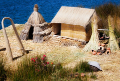 Reed Island Houses (kate willmer) Tags: reeds house garden lake island roof titicaca peru