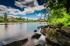 Bathing Time (MF-otografie) Tags: main aschaffenburg river stone nature outdoor longtimeexposure green plants sun summer water bathing clouds castle