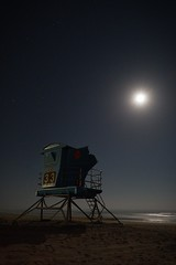 Tower 33 sleeps (BorrowedLightPhoto) Tags: lifeguardtower night ocean moon pismostatebeach californiastatepark pacificocean tamron1750 canon7dii sand stars