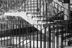 Escape Route 3 (margaretsdad) Tags: barron d7100 edinburgh midlothian scotland scott scottbarron uk stairs staircase stair shadows railings paintedsign paint ominous light exitsign depressing dark confusion carpark blackandwhite blackwhite black bw escape escaperoute getout exit