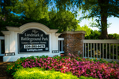 Landmark (No Talent Bum) Tags: entrances begonias pink northcarolina greensboronc nikond5300