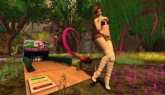 KARA SHORTS AND TOP (ORANGE) (JoytiBloom of Second Life) Tags: karashortsandtop pinkice maitreya slink belleza catwa tableauvivant sl14thbirthhday fashion art photography