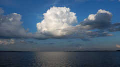 Puffy clouds over the distant Lake Murray Dam (V-rider) Tags: rhm ralph vrider97 jane bikini boat water lake pontoon clouds sun love adventure together