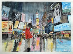 NYC Time Square - Watercolor (Andreas Heinen) Tags: time square nyc new york city night rain woman girl umbrella wet reflections lights shadow colors bright weather evening watercolor painting sketch art aquarell regen nass dress