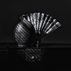 Bizen-yaki vase, fan and tansu chest. Raking light. (Tim Ravenscroft) Tags: vase pottery bizen fan tansu chest monochrome blackandwhite blackwhite hasselblad hasselbladx1d x1d