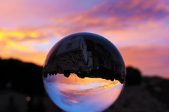 Magic ball (raffaella.rinaldi) Tags: sphere crystal glass ball nature sunset magic atmosphere dusk shades sky clouds colors tones reflection light shadows
