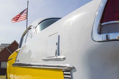 55 Chevy Bel Air (aaronrhawkins) Tags: car old restored chevy fin chrome shiny flag american tailight reflection automobile fifties 50s 1955 drive park provo utah aaronhawkins chevrolet classic auto