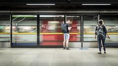 Workward Bound (Sean Batten) Tags: london england unitedkingdom gb canarywharf tube subway metro londonunderground blur ricohgr city urban candid people