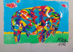 Manitou Springs, wall art (RubyT (I come here for cameradarie)) Tags: lgg5 colorado manitosprings colorful buffalo bison painting