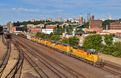 "Westbound Transfer in Kansas City, MO (""Righteous"" Grant G.) Tags: up union pacific railroad railway emd power kansas city missouri west westbound transfer freight yard job"