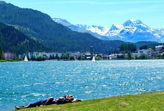 Relaxing at the Lake (Colorado Sands) Tags: stmoritz switzerland europe sanktmoritz engadine alps resort lake alpineresort sandraleidholdt graubünden sailboats mountains village