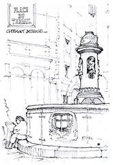 Clermont dessine, 2017 (gerard michel) Tags: france auvergne clermontferrand fontaine sketch croquis
