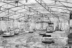 Wasted youth, Pripyat (IR) (Sean Hartwell Photography) Tags: fair fairground funfair dodgems pripyat chernobyl nuclear accident disaster abandoned decay radiation radioactive infrared ir monochrome blackandwhite black white
