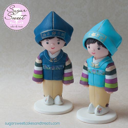 Twin Hanbok Doljachi Cake Toppers