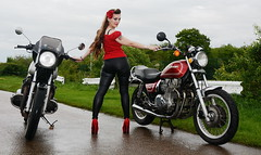 Holly_3503 (Fast an' Bulbous) Tags: girl woman bike biker chick babe hot sexy motorcycle classic jap kawasaki people outdoor santapod racerockride long brunette hair gigh heels stilettos shoes sixinchheels leather pvc jeans leggings