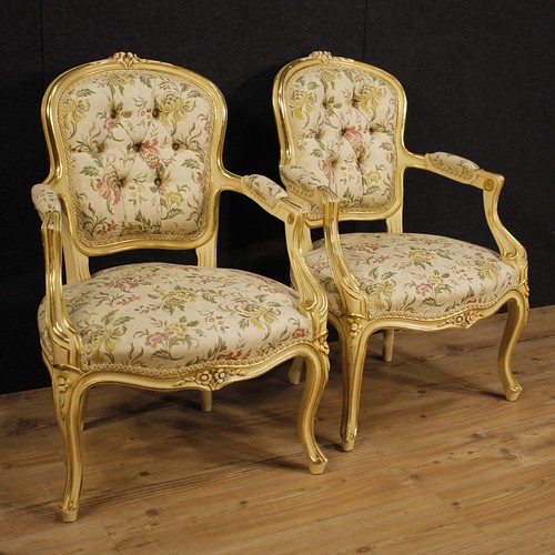 Pair of lacquered and golden Italian armchairs